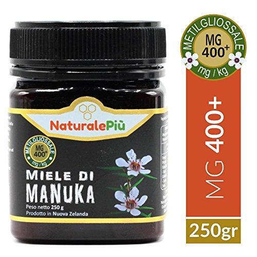 Miel de Manuka 400+ MGO 250g | Producida en Nueva Zelanda, activa y cruda, 100% pura y natural | Metilglioxial probado | NATURALEPIÙ