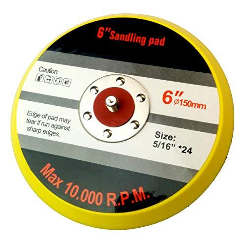 Falontech 8292605011 Schleifplatte für Exzenterschleifer Ø 150 mm 5/16 Zoll 24 UNF Außengewinde, gelb, 150 mm x Anschlussgewinde