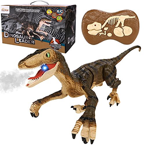 Hawiton Remote Control Dinosaur Toys for Kids Age 3-7, 2.4Ghz RC Dinosaur Robot Toys with Realistic Walking & Roaring Sound Simulation Velociraptor 5-7 Years Old Birthday Gift for Boys Robot Toy