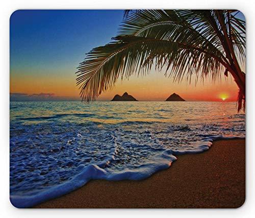 Alfombrilla de ratón Hawaiana, Amanecer del Pacífico en la Playa de Lanikai Escena de Superficie oceánica Ondulada de Cielo Colorido de Hawaii, Alfombrilla de Goma Rectangular, Azul Marfil