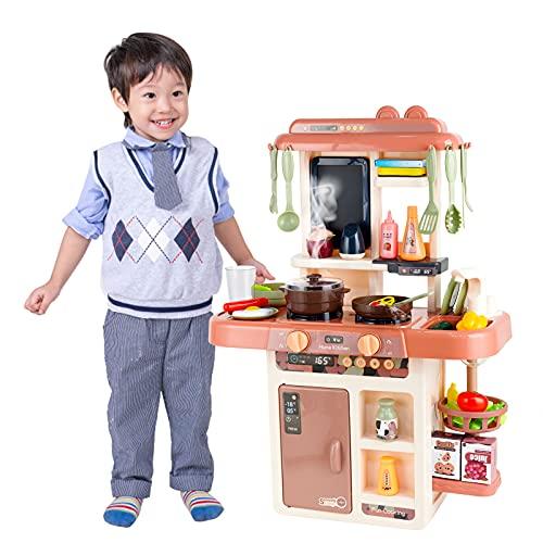 LITTLE STEP おままごとキッチン おままごとセット 42個PCS幼児おもちゃセット 台所おもちゃ リアルなライトと料理音付きのミニごっこ遊びセット、キッチンおもちゃリアル噴霧(乳幼児、女の子、男の子)料理おもちゃ キッチンセット