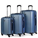 ITACA - Juego Maletas de Viaje 4 Ruedas Trolley ABS. Extensibles Rígidas Resistentes y Ligeras. Mango Asas Candado. Pequeña Cabina Low Cost, Mediana y Grande. T71500, Color Azul Zafiro