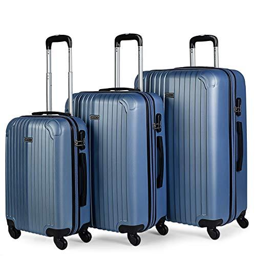 ITACA - Juego Maletas de Viaje 4 Ruedas Trolley abs. Extensibles rígidas s y Ligeras. Mango Asas candado. pequeña Cabina Low Cost, Mediana y Grande. t71500, Color Azul Zafiro