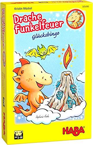 HABA 305490 - Drache Funkelfeuer Glücksbingo, Bingospiel für Kinder ab 3 Jahren in Drachendesign für 2 – 4 Spieler, Spieldauer 10 Minuten, Geschenkidee zum Mitbringen für Drachenfans
