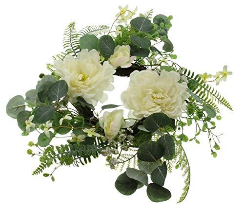 Deko-Kranz Eleganz mit Creme-weißen Blüten, Blätter & Farn in grün, Ø 45 cm, Tischkranz, Blumenkranz