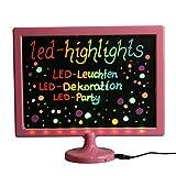 LED-Highlights Deko Schreibtafel Leuchtschild 32 x 28 cm Led Rahmen pink Leuchttafel Werbeschild 8...