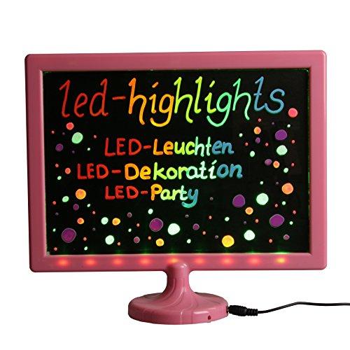 LED-Highlights Deko Schreibtafel Leuchtschild 32 x 28 cm Led Rahmen pink Leuchttafel Werbeschild 8 Neon Stifte Buchstaben bunt beschreibbar
