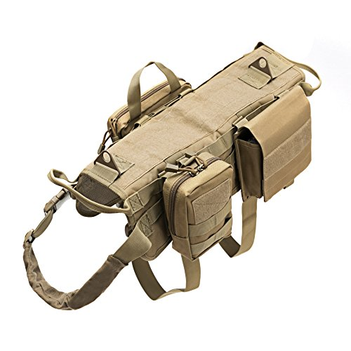 Petvins Tactical Dog Molle Vest Harness K9 Adjustable Outdoor Training Service Camouflage Harness with 3 Detachable Pouches Brown Size XL