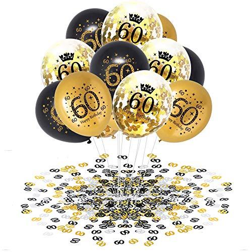 APERIL 60 Anni Palloncini Compleanno Oro Nero Palloncini di Coriandoli e 20g 60°Compleanno Coriandoli, Decorazioni per Feste per Adulti Uomo Donna Anniversario Matrimonio
