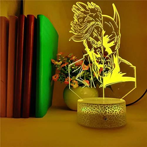 Justicia única y base de la grieta del mal Luz de noche creativa Luz de visión 3D Luz LED Decoración creativa Lámpara de mesa pequeña Luz de noche multicolor de acrílico