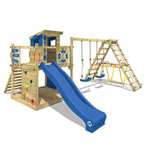 WICKEY Aire de jeux Portique bois Smart Surf avec balançoire et toboggan bleu, Maison enfant exterieur avec bac à sable, échelle d'escalade & accessoires de jeux
