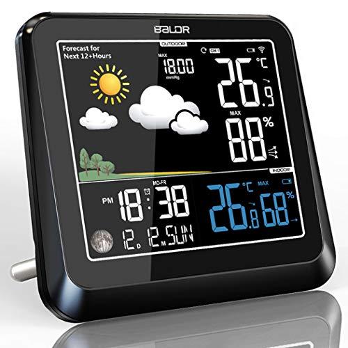 Konsen Wetterstation Farbdisplay funk mit Außensensor, Thermometer-Hygrometer für innen und außen mit Wettervorhersage Barometer Mondphasen Wecker Uhrzeit und Hintergrundbeleuchtung