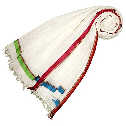 LORENZO CANA Damenschal Schaltuch 70 cm x 180 cm Schal Naturfaser 50% Kaschmir 40% Wolle 10% Seide Weiss Bunt 78392
