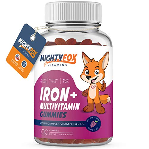 Iron Gummies for Kids, Iron Supplements for Kids (100 Gummies) Contain Vitamin C, B-Complex (B3, B5, B6, B12), Vitamin A, Zinc, Biotin & Folid Acid - Natural Flavor, 100% Vegan, Gluten Free, Non GMO