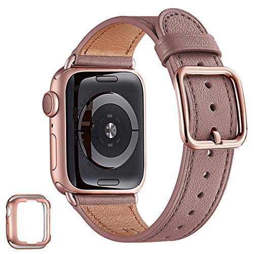 MNBVCXZ Compatible with Apple Watch Band 38mm 40mm 42mm 44mm Women Men Girls Boys Genuine Leather Replacement Strap for iWatch Series 6 5 4 3 2 1 iWatch SE (Lavender/Rose Gold, 38mm 40mm)