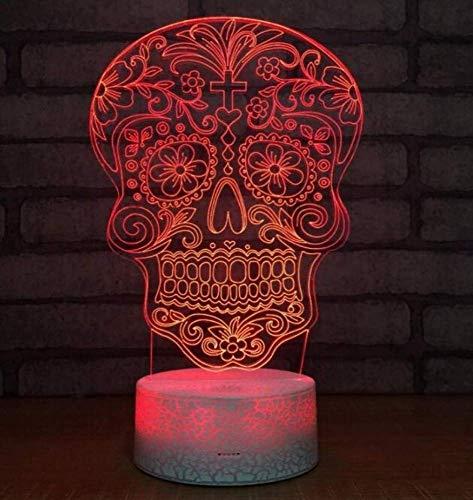 Nachtlicht Wandleuchte Led Lampe Neuheit Schädel 3D Nachtlicht Led 7 Farben Stimmung Lampe Usb 3D Illusion Tischlampe Fernbedienung Touch Switch Atmosphäre Lampe für Küche Schlafzimmer Wohnzimmer , Q
