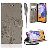 AROYI Lederhülle Samsung Galaxy A31 Hülle + HD Schutzfolie, Samsung Galaxy A31 Flip Wallet Handyhülle PU Leder Tasche Hülle Kartensteckplätzen Schutzhülle für Samsung Galaxy A31 Grau