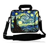icolor 12' 13' Laptop Shoulder Bag Case Universal Netbook Messenger Cover Sleeve Carrying Holder w/strap Compatible 12.5'~13.3 inch Notbook Computer Tablet- Starry Night