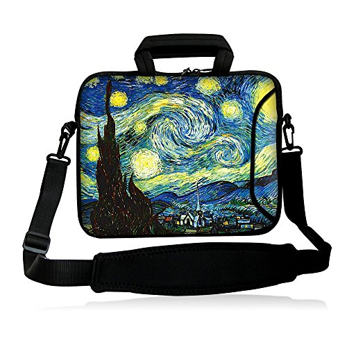 "icolor 12"" 13"" Laptop Shoulder Bag Case Universal Netbook Messenger Cover Sleeve Carrying Holder w/strap Compatible 12.5""~13.3 inch Notbook Computer Tablet- Starry Night"