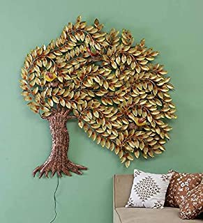 MICROTEX Iron metal tree in storm beautiful wall hanging panel for room hall living area office modern art (59x3x62 inch)
