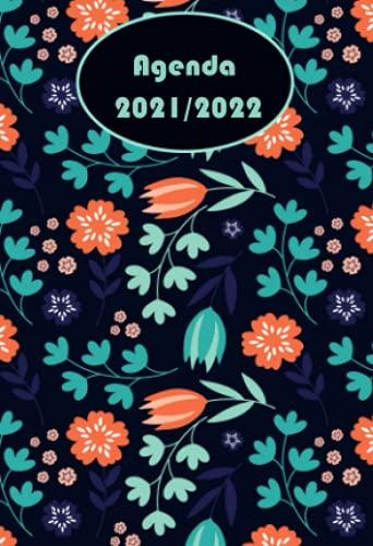 Agenda 2021-2022: A6 Calendrier semainier annuel français petite format de poche -fleurs-12 mois ,1 semaine sur 2 pages ,Professionnel de Bureau 21/22 quotidien , et mensuel , journalier