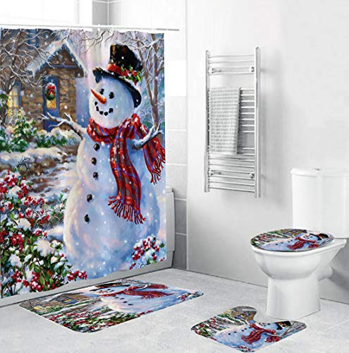XIANGLIOOD 4 Piece Set Merry Christmas Happy Snowman Cardinals Santa Claus Waterproof Shower Curtain Toilet Mat