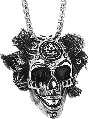 NC86 Personalidad Moda Charm Clásico Retro Punk Rock Charm Collar Acero Inoxidable Hombres y Mujeres Corona Forma de Calavera Collar para Hombres
