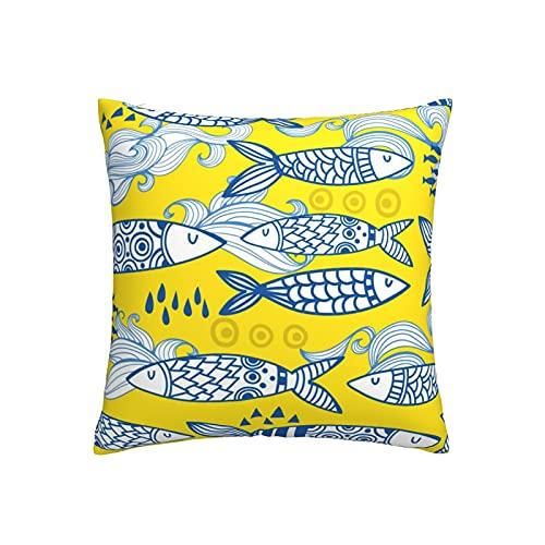 RETRUA Fundas de cojín de pescado azul bohemio, funda de almohada decorativa para el hogar, sala de estar, dormitorio, sofá, silla, 45 x 45 cm
