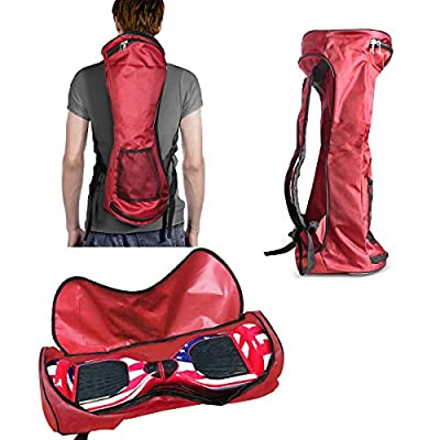 "GameXcel Self-Balancing Scooter Carrying Backpack Bag for 6.5"" 7"" and 8"" Two-Wheel Hover Board Bag Smart Balancing Scooters Storage Mesh Pocket Adjustable Shoulder Strap Red"