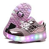 LuckyW LED Zapatillas de Skate con Ruedas Zapatillas Luminosas con Ruedas Deporte Gimnasia Multideporte Moda para niños y niñas Niños (Rosa roja01-586 33)