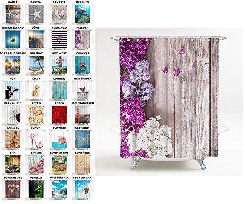Sanilo Duschvorhang, viele schöne Duschvorhänge zur Auswahl, hochwertige Qualität, inkl. 12 Ringe, wasserdicht, Anti-Schimmel-Effekt (180 x 200 cm, Flieder)