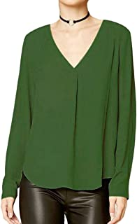 FRPE Womens Solid Chiffon Long Sleeve Plus Size V-Neck Blouse T-Shirt Top
