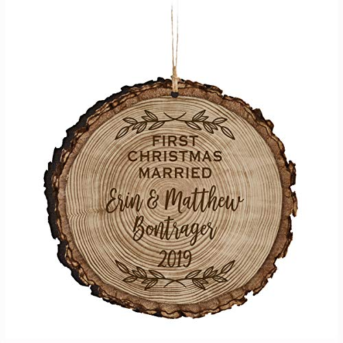 Lplpol First Christmas Married Ornament Personalized Marriage Gift for New Couple with Engraved Names and Date Mr & Mrs