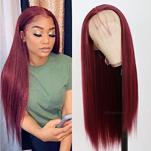 Missyvan Burgundy Hair Color Lace Front Wig Long Straight Hair Wigs Glueless Heat Resistant Fiber Hair Red Hair Synthetic Lace Front Wigs for Fashion Women