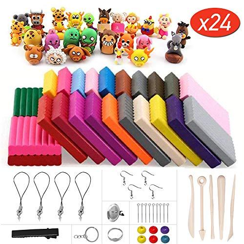 Mopalwin 24 Farben Polymer Clay - Modellierung Ton Nontoxic DIY Handgemachtes Kinderspielzeug Geschenk , Modellierung Set und Werkzeuge