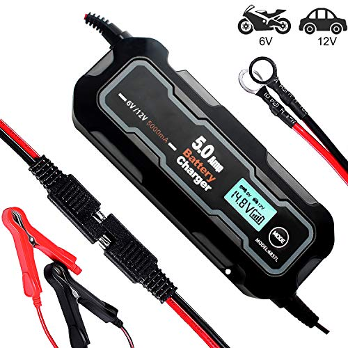 Great Deal! SCYDAO Smart Car Battery Charger 12V/6V 5A Portable LCD Battery Charger and Maintainer f...