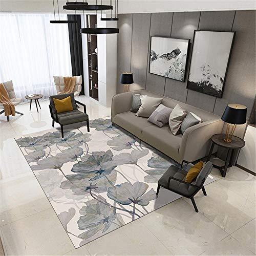Xiaosua teppiche für Wohnzimmer grau Teppich Wohnzimmer Grau Einfach Lotusblatt Muster Langlebiger Teppich Waschbar antirutsch für Teppich 80X160CM Teppich Baby 2ft 7.5''X5ft 3''