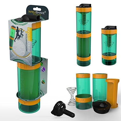 Intelishake - Multi-Compartiments à Puce protéine/entraînement/agitateur jus Bouteille (2 x 500ml) avec de l'eau du Filtre de Carbone pour Le Sport, l'exercice et la Salle de Gym - Orange Techno