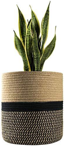 FairyLavie 30CM Baumwollseil-Pflanzenkorb, für 25CM - 28CM Pflanzgefäß, Verstärktes Baumwollseil, Multifunktionaler Korb Ideale Wahl für Wohnkultur und Aufbewahrung, Beige
