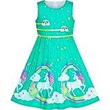 Vestido para niña Turquesa Unicornio Arco Iris Verano Sol 6 años