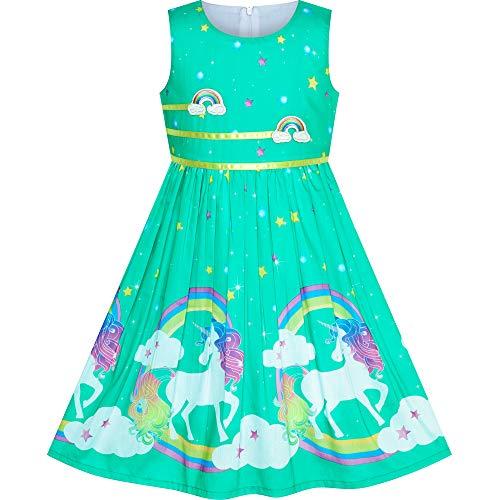 Vestido para niña Turquesa Unicornio Arco Iris Verano Sol 9-10 años