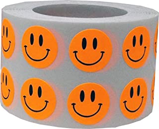 Smiley Face Stickers Fluorescent Orange Happy Face Labels For Teachers 1/2 Inch Round Circle Dots 1,000 Adhesive Stickers