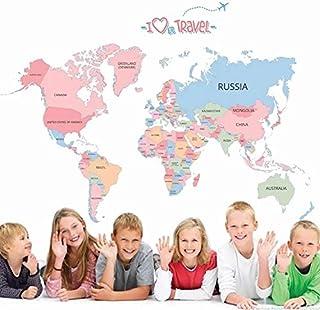 ملصقات جدارية لخريطة العالم الملونة، ملصقات جدارية قابلة للإزالة واللصق ملصقات جدارية للأطفال تعلم غرفة نوم الأطفال غرفة ا...