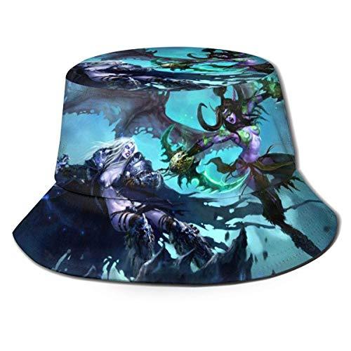 Juego World of Warcr-AFT Fisherman Hat Verano Protección UV Sombreros de Cubo de Viaje Gorra de Sol Plegable de Playa para Hombres y Mujeres