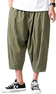 Macondoo Mens Linen Wide Leg Trousers Thin Cropped Casual Plus Size Pants