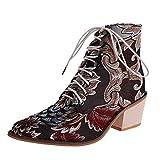 Stivaletti Boots Donna Classic Comfort Stivali con Tacco Quadrato in Stoffa Ricami Stivali con Lacci Scarpe a Punta (42 EU,2- Rosso)
