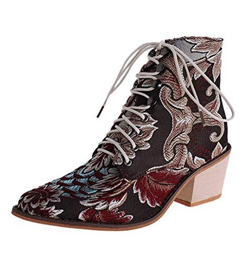 Posioanl Botines Mujer CláSicas Botas Calientes De Cremallera Lateral Zapatos TacóN Medio Fiesta Con Hebilla Antideslizante Comodos Tacones Cuadrados Retro Bordadas Tela Cordones Punta Puntiaguda