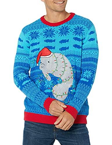 Blizzard Bay Men's Festive Manatee Ugly Christmas Sweater, Blue/Light Blue/Grey, Medium