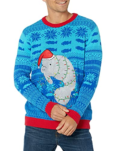 Blizzard Bay Men's Ugly Christmas Sweater Sea Creatures, Blue/Light Blue/Grey, X-Large
