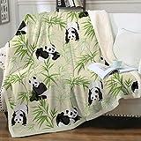 Sleepwish Cute Panda Sherpa Blanket Pandas and Green Bamboo Soft Yellow Fleece Throw Blanket Panda Bear Reversible Blanket Throw(50'x60')